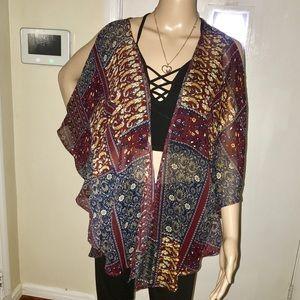 Sweaters - Gold / Burgundy Cut Out Kimono